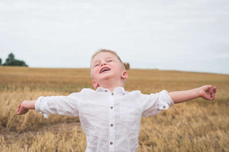 Handsome little boy in white shirt is photographed in a wheat field
