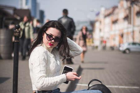 Dude hipster girl outdoor, lifestyle concept Stok Fotoğraf