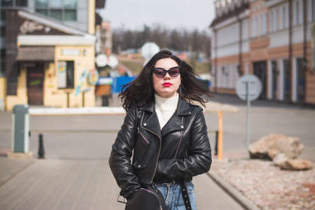 lifestyle fashion portrait of young stylish hipster woman Stok Fotoğraf