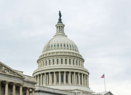 lawmaking: Capitol building detail in Washington DC on a cloudy day