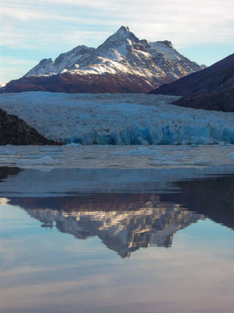 Lago Grey in the Torres del Paine national Park, Patagonia, Chile. A rare view on a calm morning.