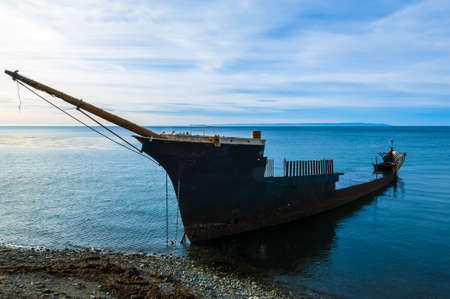 punta arenas: Shipwreck south of Punta Arenas, Chile, depicting a lonely, decrepit state forgotten at the end of life Stock Photo