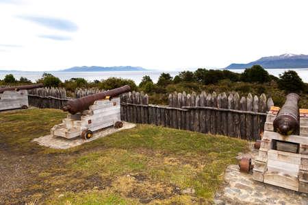 continente americano: Estructuras de madera en la fortaleza m?s meridional del continente sudamericano en Chile