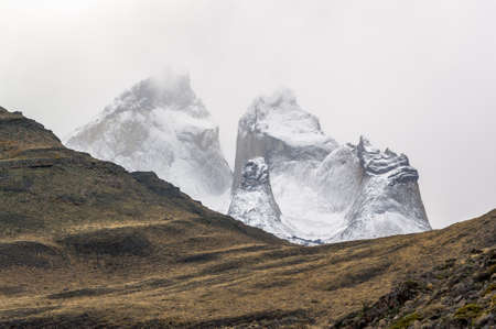 Torres del Pain geologic formation in a cloud bank