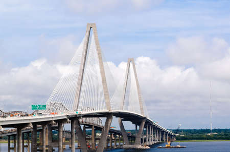 Arthur Ravenel Jr Bridge over Cooper River in Charleston Stock Photo