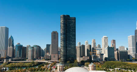 Chicago skyline panorama with beautiful blue sky background.