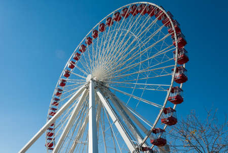 Detail of the ferris wheel at the Navy Pier in Chicago with beautiful clear blue sky in the background.