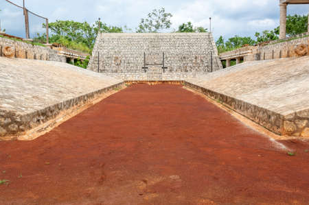 Mayan ballgame court with goals on either side photo
