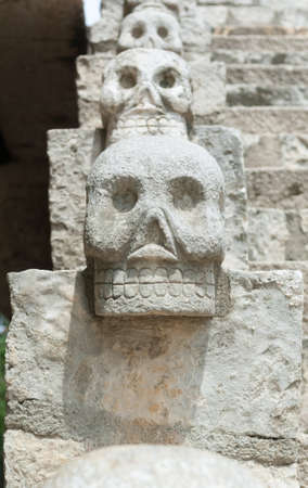 Skull bannister at Xcaret theme park in Mexico