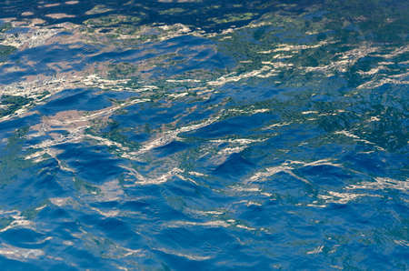 Choppy Blue Water Surface Texture with Sky Reflected in Highlights