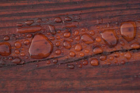 pooled: Pooled water on finished deck with woodgrain. Excellent background for illustrating construction or resilience.