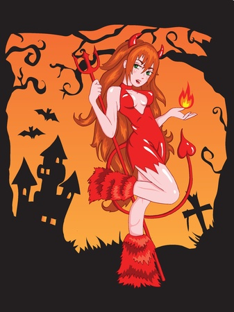 sexy halloween girl: Devil girl with fire