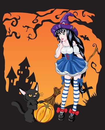 Young witch girl with black cat Illustration