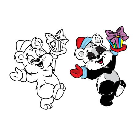 Vector Illustration of happy Christmas panda bear in color and black and white; isolated on background. Vector