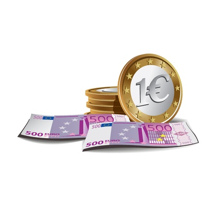 Euro banknotes and coin illustration, financial theme