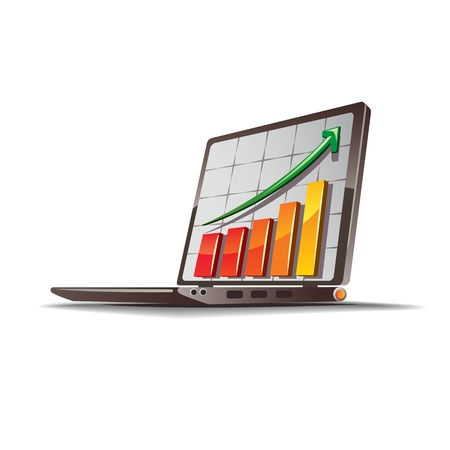 a graph going up on a laptop  Illustration