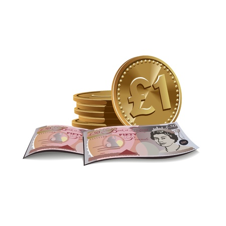 pounds banknotes and coins illustration, financial theme  Illustration