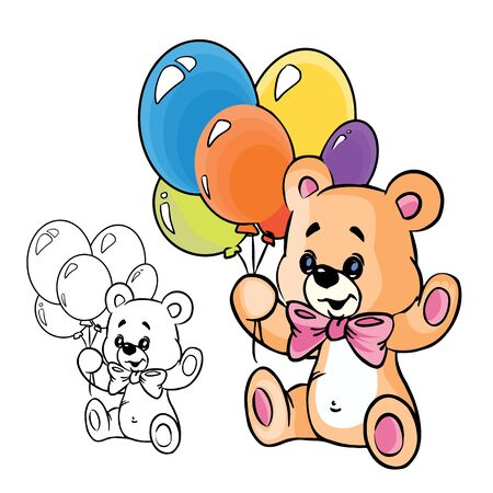Illustration of cute teddy bear with balloons in color , isolated on background.  Vector