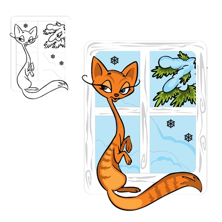 Illustration of cute red cat  in color and outline, on background.  Vector