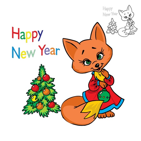 Illustration of cute fox in a dress and Christmas tree  in color and outline, isolated on background.  Illustration