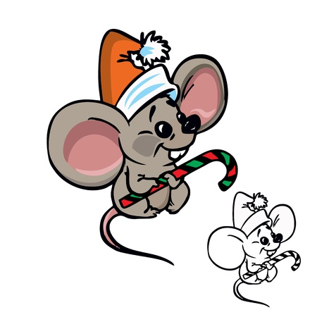 Illustration of cute&nbsp,Christmas&nbsp,mouse with&nbsp,candy in color and outline, isolated on background.  Vector