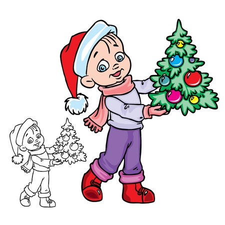 seasonal symbol:  Illustration of Christmas&nbsp,boy with a tree in color and outline, isolated on background.