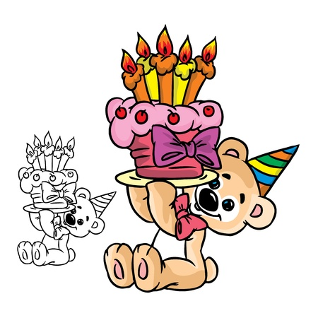 Illustration of bear with&nbsp,a birthday&nbsp,cake in color and outline, isolated on background.  Vector
