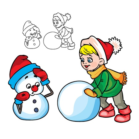 cuddly: Illustration of The boy&nbsp,makes&nbsp,a snowman in color , isolated on background.