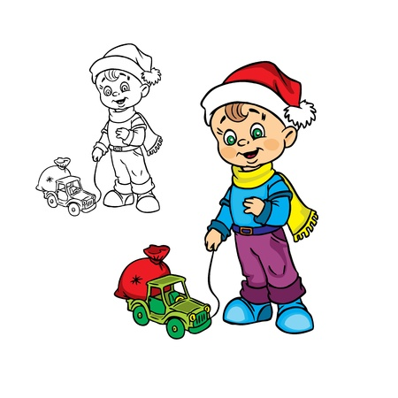 Illustration of Happy Christmas&nbsp,boy&nbsp,with a toy&nbsp,car in color and outline, isolated on background.  Illustration