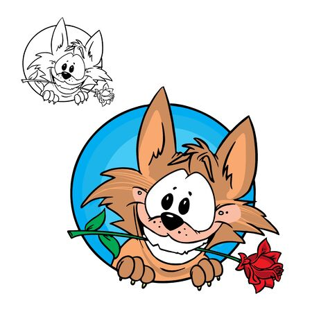 Illustration of Cute wolf with rose. in color and outline, isolated on background. Stock Vector - 11274805