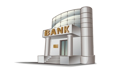 concrete stairs: Bank building illustration, financial theme. Illustration