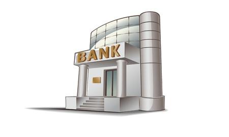 Bank building illustration, financial theme. Illustration