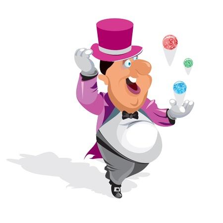 juggling: Caballero feliz jugando loter�a. Vectores
