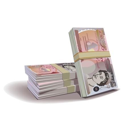 Pound billets illustration en couleur, thème financière, isolé sur un fond.
