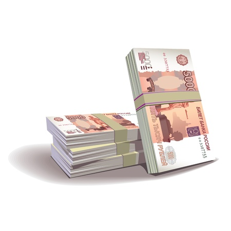 ruble banknotes illustration in color, financial theme , isolated on background.