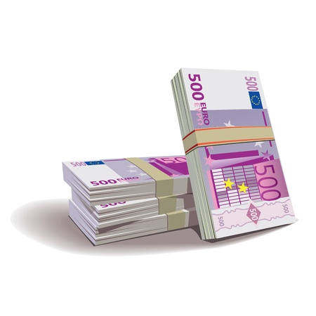 billets euros: Les billets en euro illustration en couleur, thème financier, isolé sur un fond.