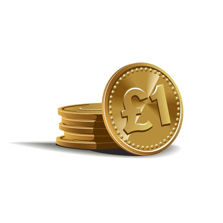 pound coins illustration in color, financial theme , isolated on background. Vector Illustration