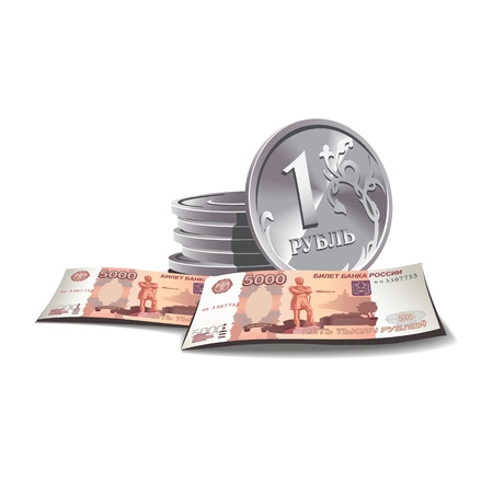 ruble: ruble banknotes and coins illustration in color, financial theme , isolated on background.  Illustration