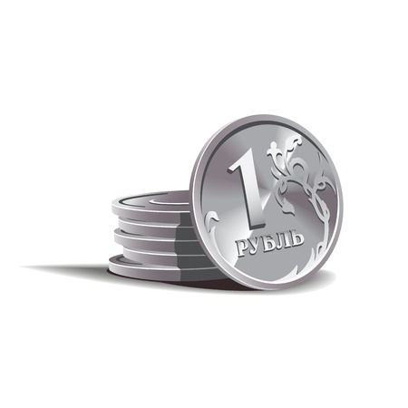 ruble  coins illustration, financial theme