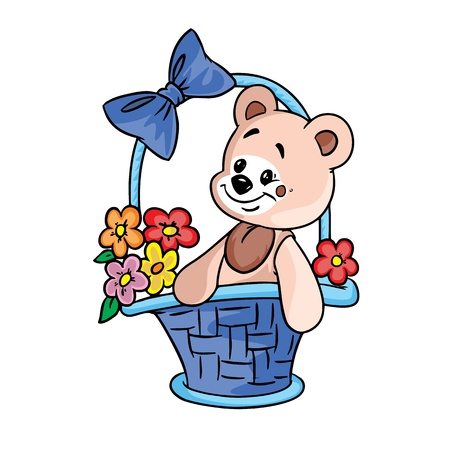 Vector Illustration of teddy bear with flowers in a gift basket in color ; isolated on background.  Vector