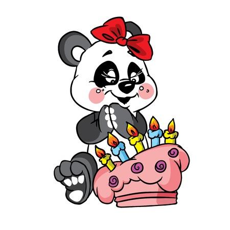 rejoicing: Illustrazione Vettoriale di compleanno panda felice con una torta a colori; isolato su sfondo. Vettoriali