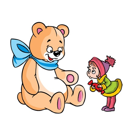 Vector Illustration of surprised girl and a big teddy bear in color ; isolated on background.