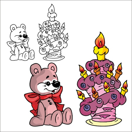 cuddly: teddy bear with a cake  Illustration
