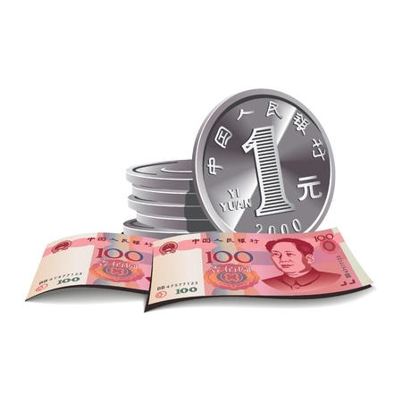 Yuan banknotes and coins vector illustration in color, financial theme ; isolated on background.