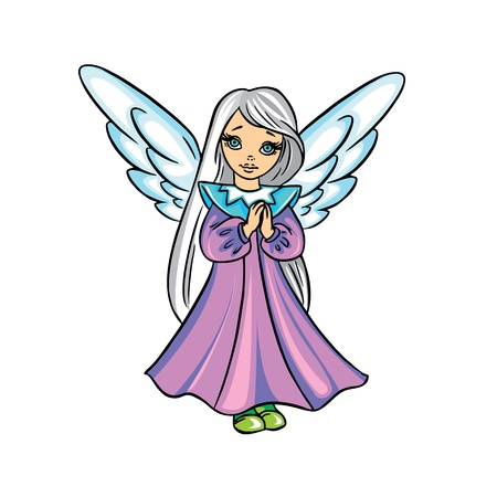 angel cartoon: Cute Christmas angel vector illustration in color; isolated on background.