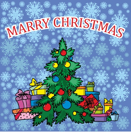 Christmas greetings with Christmas tree on blue background vector illustration  Stock Vector - 11450095