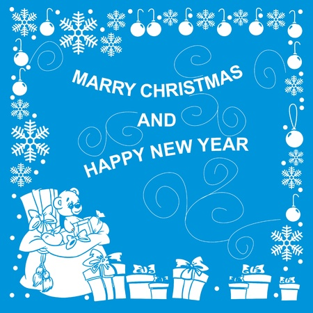 New Year card with gift on blue background vector illustration