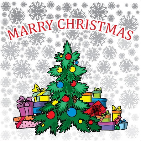 Christmas tree on white background  Stock Vector - 11450094