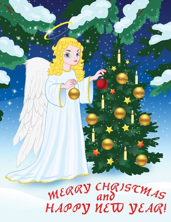 Christmas greetings with angel and Christmas tree vector illustration in color; on background.