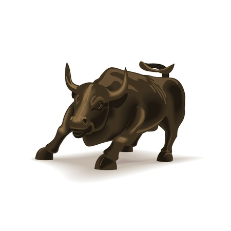 bear market: Bull vector illustration in color, financial theme ; isolated on background.